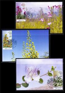 ISRAEL-STAMPS-2020-SUMMER-FLOWERS-SET-OF-3-MAXIMUM-CARDS