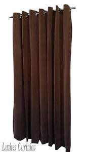 Marron-35-6cm-Extra-Long-Panneau-Rideau-En-Velours-avec-Ring-illet-Superieur