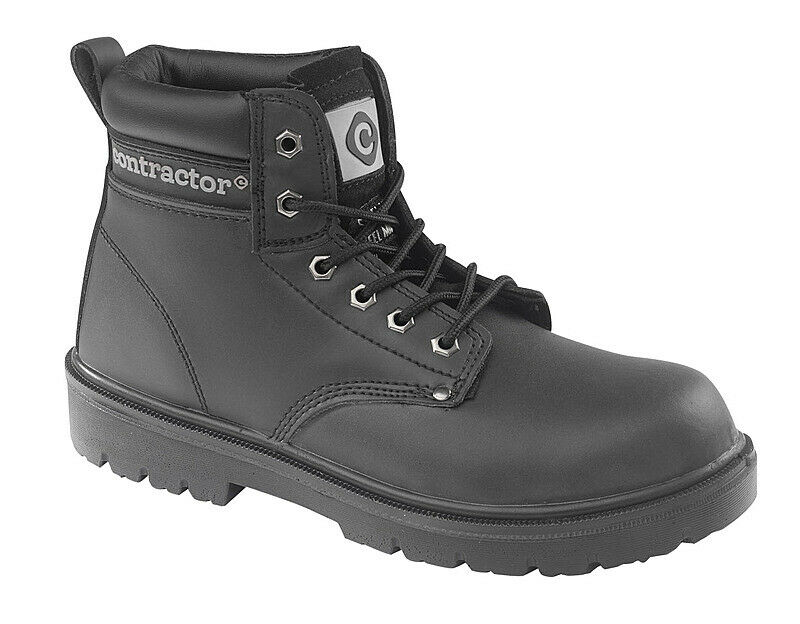 Contractor Black leather Boot 802SM Size 6