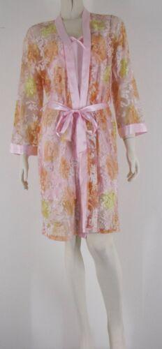 Delicate Sheer Chiffon Robe /& Silk Satin Blend Sheer Bust Slip Warm Colours