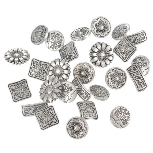 Wholesale Lots W09 Mixed Round Metal Buttons Flower Sewing Scrapbooking ##