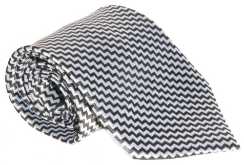 Silver And Black Zig Zag Pattern Men/'s Necktie 100/% Silk Tie