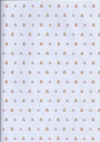 """/""""Teddy Bear Vivero/"""" Azul 24 Cm 1:12 Casa De Muñecas Wallpaper 9.5/"""" 34 cm X 13.5/"""""""