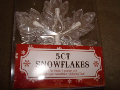 SNOWFLAKE STRING LIGHT 5 COUNT WITH 7 CLEAR LIGHTS IN EACH INDOOR//OUTDOOR