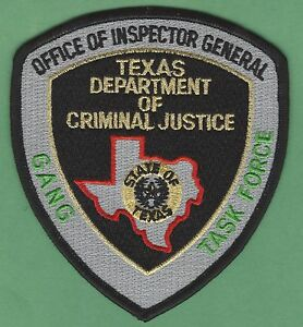 Details about TEXAS DEPARTMENT OF CRIMINAL JUSTICE GANG TASK FORCE POLICE  PATCH
