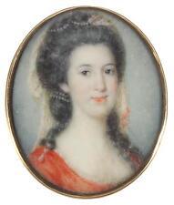 English School Antique 18thC Miniature Watercolour Portrait Painting of a Lady