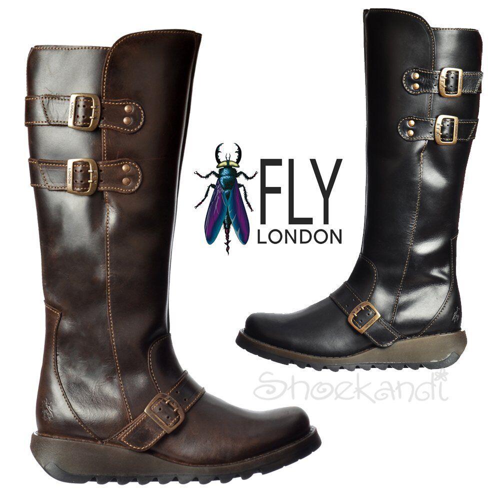 Mujer Fly London Solv Biker la rodilla alta botas de invierno bajo Cleated Suela Negro Marrón