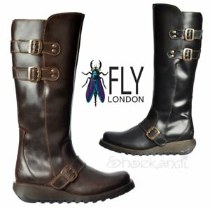 Womens-Fly-London-Solv-Biker-Knee-High-Winter-Boot-Low-Cleated-Sole-Black-Brown