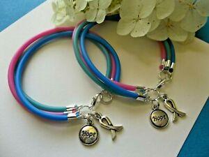 Details About 2 Thyroid Cancer Type 1 Diabetes Awareness Bracelets Teal Blue Pink