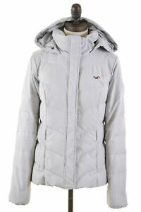 Hollister-Damen-Gefuetterte-Jacke-Groesse-14-mittel-grau-Polyester-x301