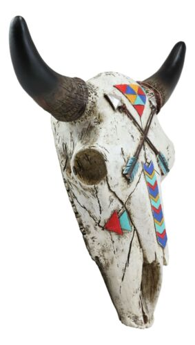 """10/""""L Southwest Steer Bison Bull Cow Skull With 2 Crossed Arrows Wall Head Decor"""
