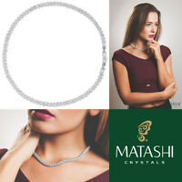 16 Rhodium Plated Necklace W/ Crystal Link Rope Chain & Crystals By Matashi