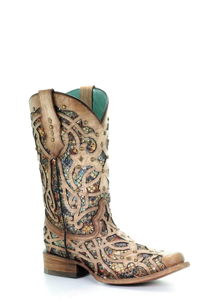 Corral Women's Western Cowgirl Bone Multicolor Inlay Studs Boots C3405