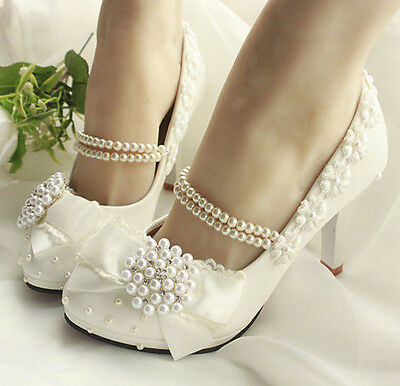Glitter Handmade Pearl Tassel Crystal Soft Lace Bows Wedding High Heel UK5/EU38
