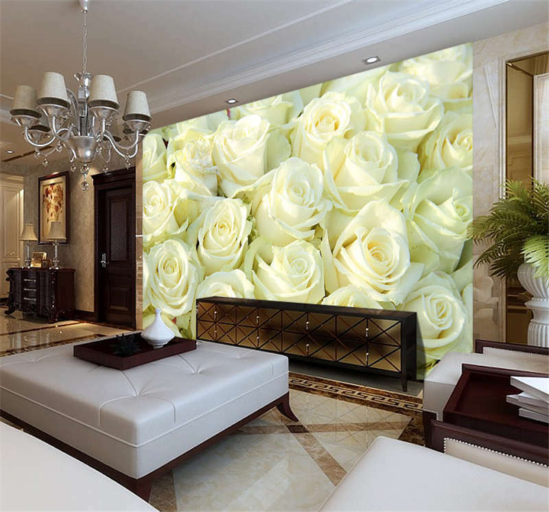 Group of Weiß Roses Full Wall Mural Photo Wallpaper Print Kids Home 3D Decal