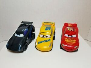 Pixar Cars Revvin' Action Lightning Mcqueen, Dinoco Cruz & Jackson Storm ⭐LOT 3⭐