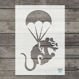 Banksy Parachute Rat reusable STENCIL Wall art Graffiti Airbrush Craft