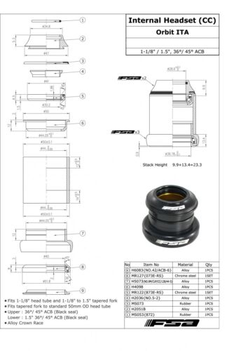 "FSA Orbit ITA 1 1//8/"" 1.5/"" Tapered Headset With Top Cap"