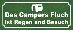 Des Campers Curse Regen And Besuch Tin Sign Shield 10 X 27 CM K0544