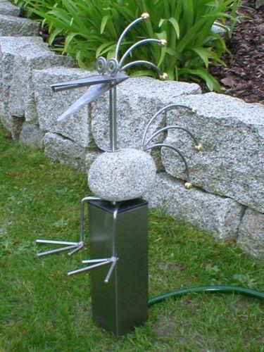 Elegant GRANITE BIRD Sunburst Edge Stool on Stainless Steel Pillar