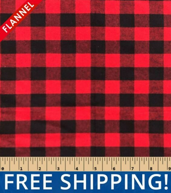 Black/Red Buffalo Plaid Cotton Flannel Fabric, by The Yard #FP30 - Free Shipping