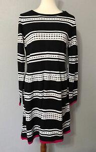 34d64941a23 NWT Eliza J Long Sleeve Geo Stripe Fit   Flare Sweater Dress L