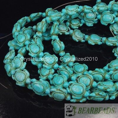 Howlite Turquoise 14mm x 17mm Carved Turtle Loose Spacer Beads 16 Inches Strand
