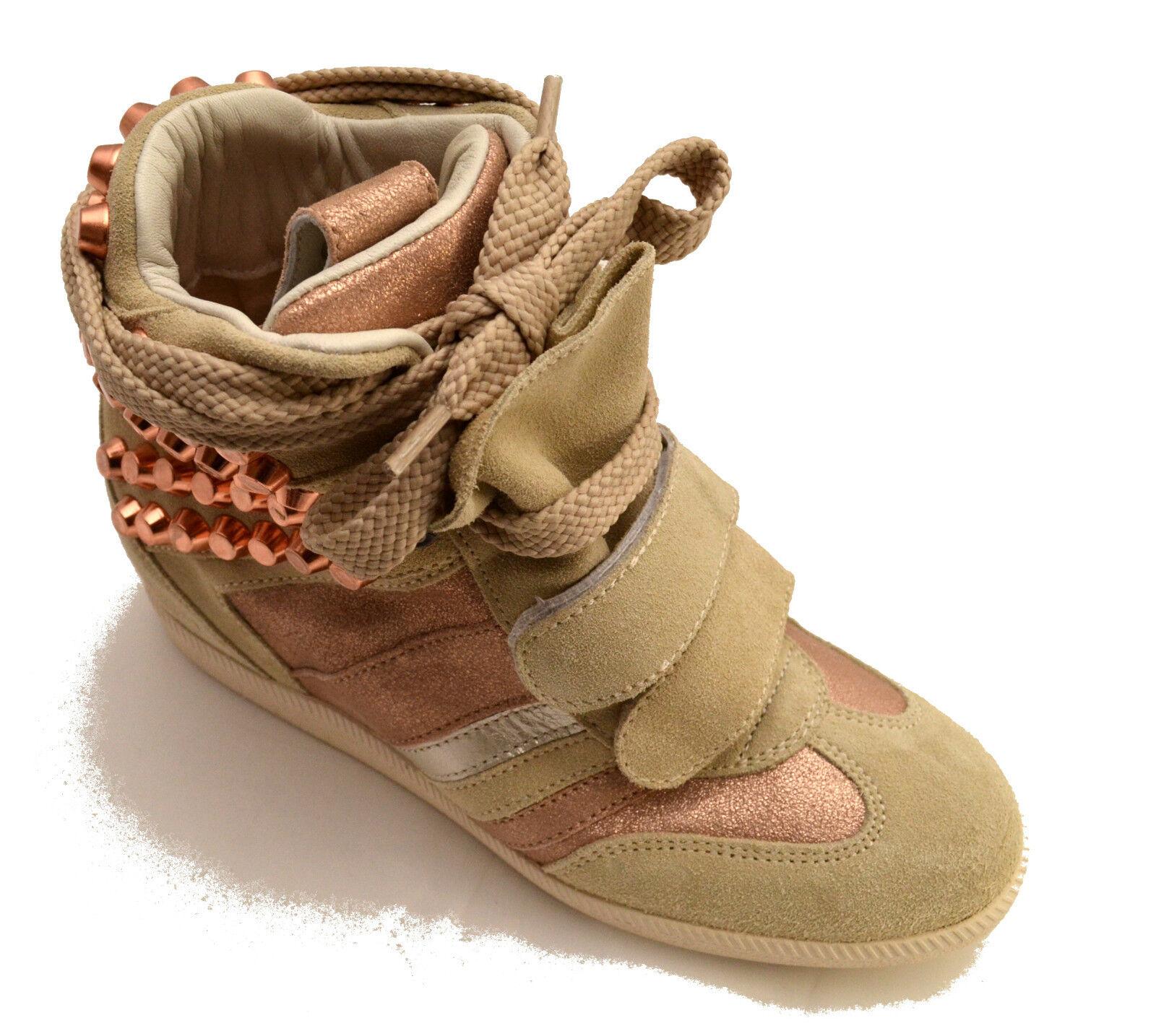 Serafini shoes Sneakers High Skin shoes Woman Studs Wedge Vintage Women 2764