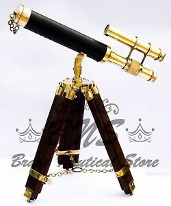 Antique Brass Telescope Leather Tripod Stand Spyglass Pirates Scope Vintage Gift