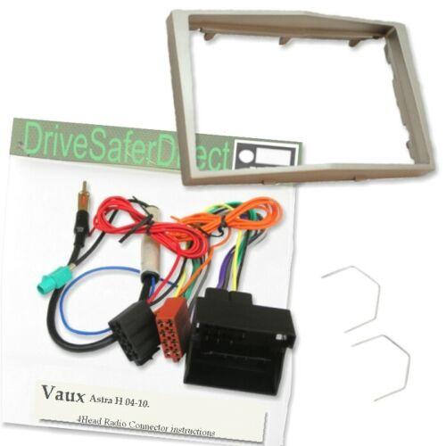 4-Head 8404-r plata doble DIN Facia Kit de Adaptador Para Radio//Vaux Astra 04-10