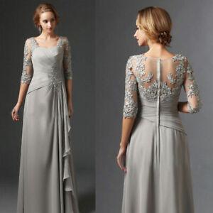 Grau Spitze Chiffon Mutter der Braut Kleider Partykleid ...
