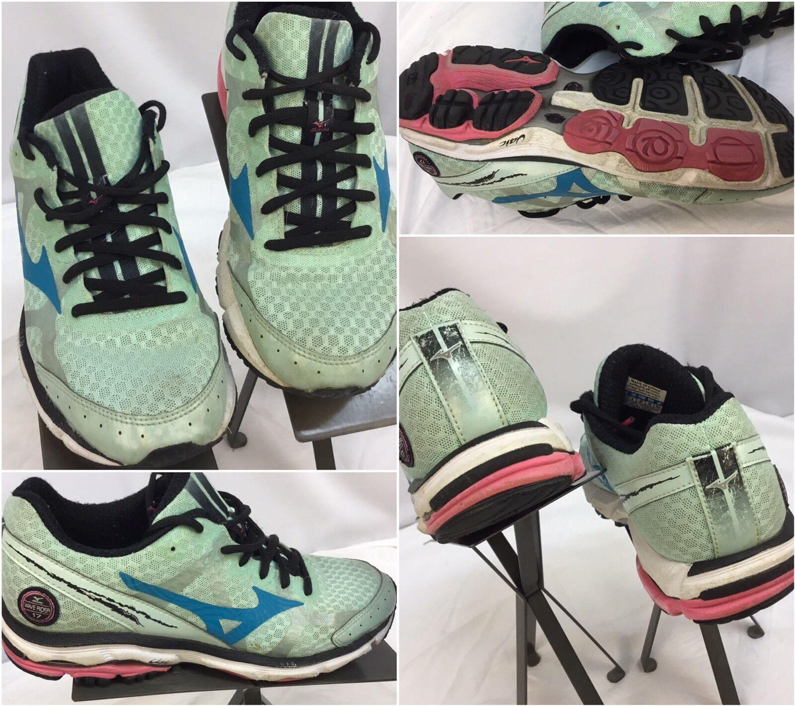 Mizuno Wave Rider 17 Sz 8.5 Women Green Running shoes EUC YGI D7-99