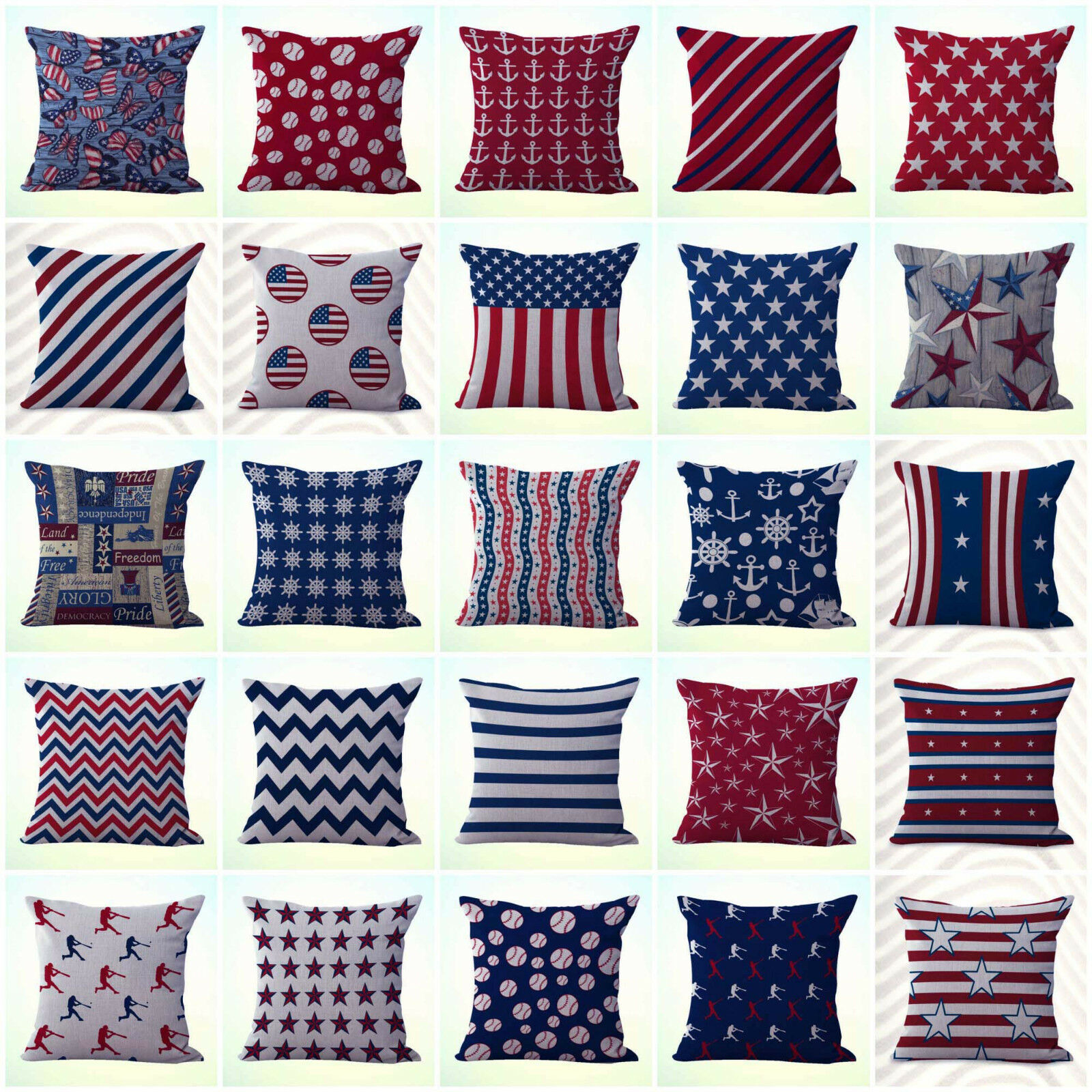 US Seller- 20pcs cushion covers patriotic America nautical pillow wholesale