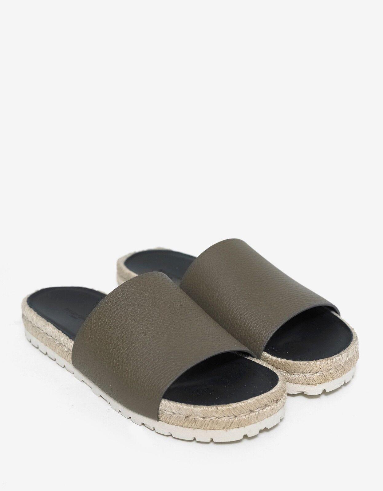 New BALENCIAGA Khaki Leather Espadrille Sandals Size 40 BNIB
