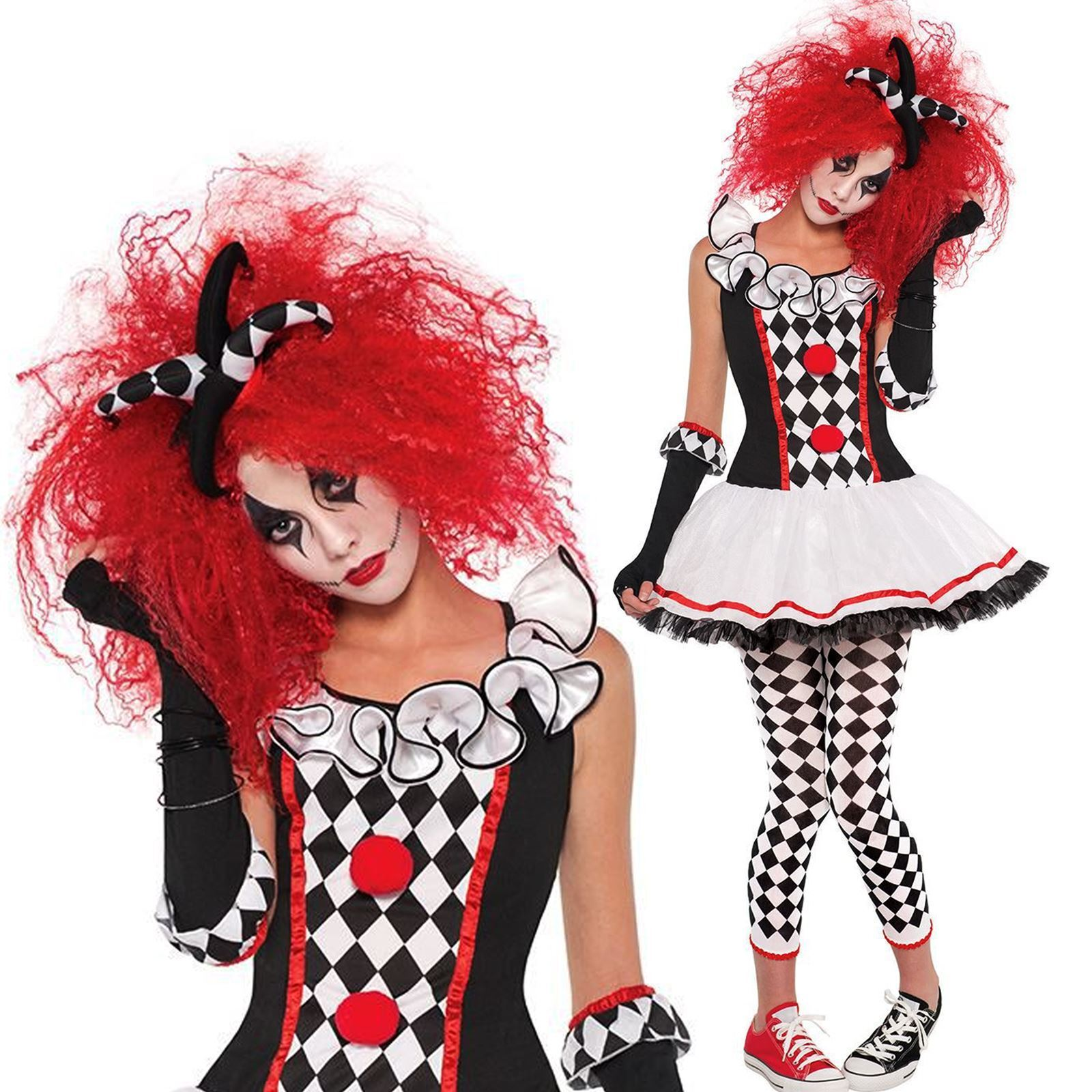 Harlequin Honey Jester Halloween Fancy Dress Costume Women Clown Outfit