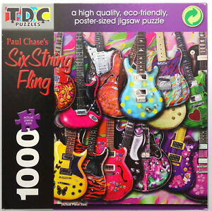 jigsaw puzzle 1000 paul chase six string fling electric guitars colorful 18886076125 ebay. Black Bedroom Furniture Sets. Home Design Ideas