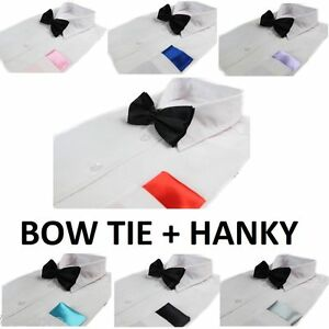 MENS-2-PCS-COMBO-BLACK-BOW-TIE-PLAIN-POCKET-SQUARE-HANKY-HANDKERCHIEF-WEDDING