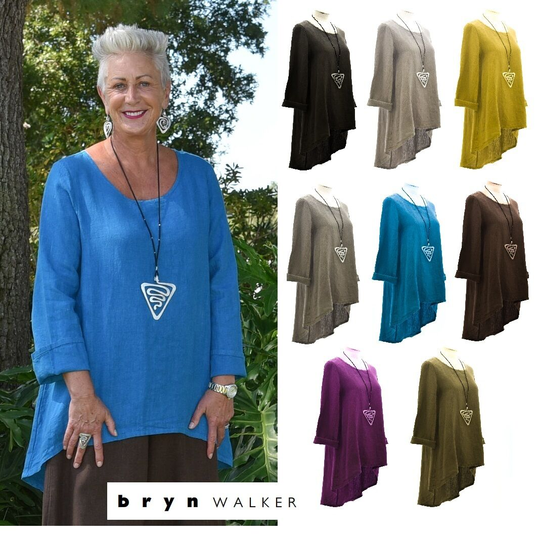 BRYN WALKER Heavy Linen  LEO TUNIC  Long A-Line Hi-Lo Top  1X 2X 3X  2017 FALL