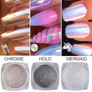 Image Is Loading 3 Pots Unicorn Nail Powder Aurora Holographic Mirror