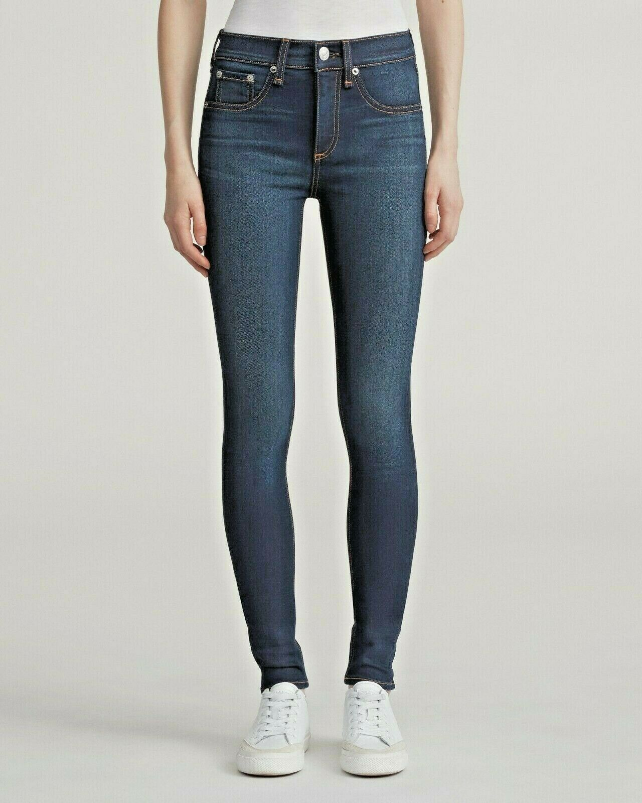 RAG & BONE WOMENS HIGH RISE STRETCH SKINNY JEANS IN BEDFORD 23 NWT