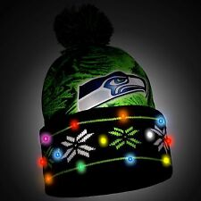 Seattle Seahawks Big Logo Light Up Pom Pom Hat