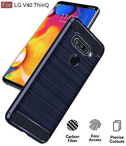 LG V40 ThinQ Case Carbon Fiber Cover Flexible TPU Slim Shock Absorption Blue