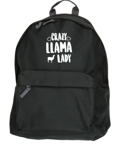 31x42x21cm Crazy llama lady backpack ruck sack Size