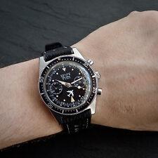 DEVIS Pilots Chronograph 248 Super SQUALE Case Black Dial Aviator Diver 1967 Vnt