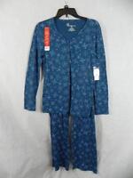 Croft & Barrow Intimates Xs Blue Snowflake Pajamas Pjs Warm & Cozy Knit C10