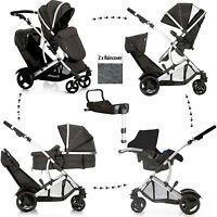 Hauck Duett 2 Double Tandem Pushchair Pram Buggy Travel System+isofixed Carseat
