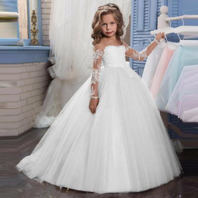 ABAO Children Girl Floor-Length Elegant Ruffle Tulle Ball Gown Formal Dress ZG8