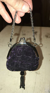Vintage-Micro-Purple-Velour-Satin-Kiss-Lock-Purse-Coin-Purse-with-Beaded-Tassel