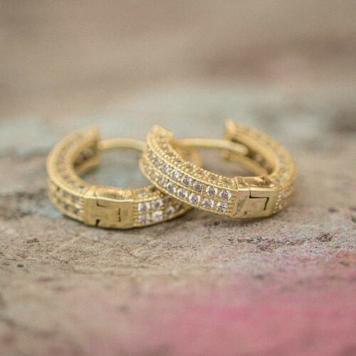 High Quality Small Lab Diamond Gold Hoop Earrings