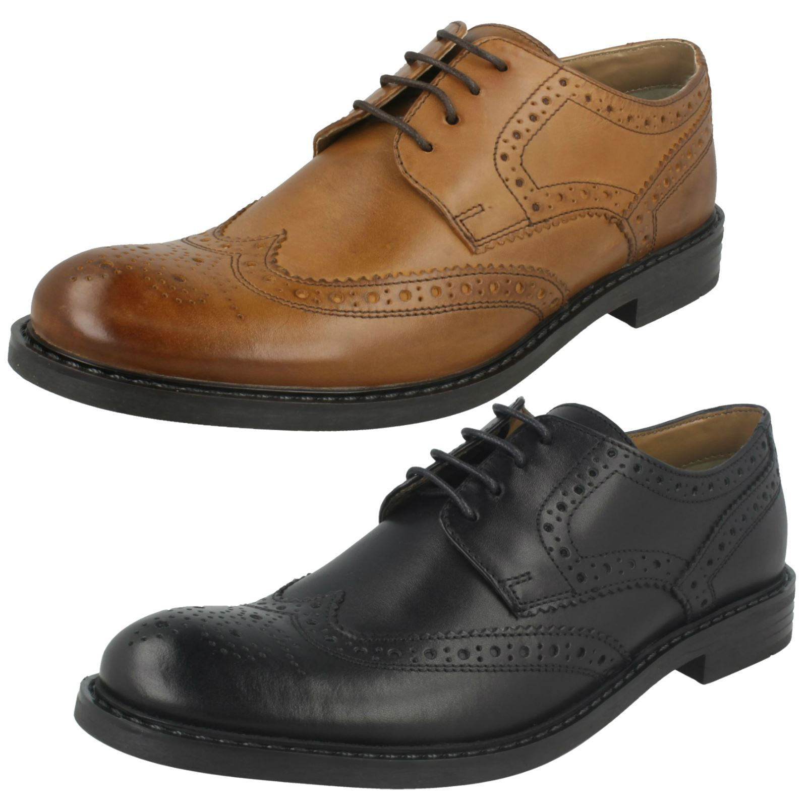 Mens Base London Rounded Toe Formal Lace Up Leather Brogues Main